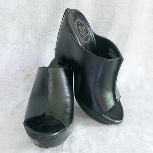 Ariat Black Leather Platform Wedge Slide Sandals 7